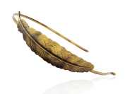 Vintage Inspired Bronze Metal Tone Single Carved Bird Feather Head Band