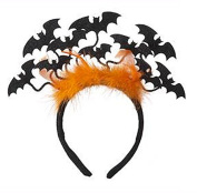 Headband With Orange Faux Feathers and Dangling Bats - By Ganz