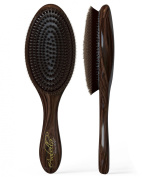 100% Natural Boar Bristle Hair Styling Brush -Classic Looking, Oval Shaped, Best Used for Short or Long Hair and Beards- Soft Bristles-Professional Salon Quality- For Men and Women- Light Weight- Canadian Design. Buy Now, Lifetime Guarantee.