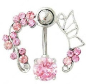Body Piercing belly ring navel bar fashion jewellery 14G Surgical Steel belly button rings Pink flowers