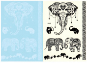 BTArtbox Fashion Black & White Lace Bady Art Stickers Removable Waterproof Temporary Tattoo All-In-One Package 2 Sheets - Elephant Pattern