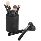Xmjps 12pcs Pro Cosmetic Makeup Brush Set Tool Leather Cup Holder Case Storage Kits Black