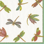 Entertaining with Caspari Cocktail Napkin, Dragonflies Green, Box of 40