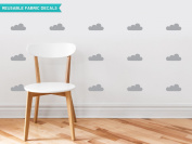 Clouds Fabric Wall Decals - Set of 18 Clouds - Grey - Modern Cloud Silhouette Wall Decor - Reusable, Repositionable