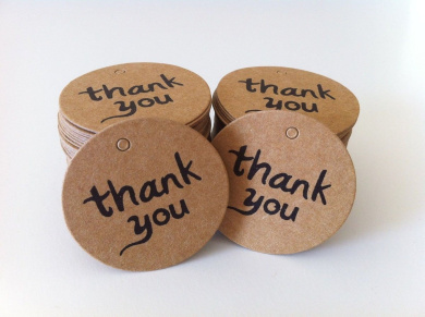 100PCS Thank You Wedding Brown Kraft Paper Tag Bonbonniere Favour Gift Tags With Jute Twines