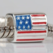 Hoobeads USA AMERICAN FLAG Sterling Silver Bead Fits Pandora Chamilia Biagi Troll Beads Europen Style Bracelets