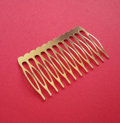 BeadsTreasure 5 Hair Combs, Metal Hair Combs, Hair Accessories, Gold Plated Combs, Bridal Supplies.