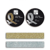 2 Masking tapes with glitter - silver & gold
