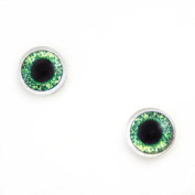 10mm Pair of Bright Green Doll Making Glass Eyes Flatback Cabochons