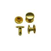 Amanteao Golden Double Cap Rivets Plane Cap 10mm and Post 8mm Pack of 100 Sets