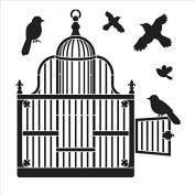 Victorian Birdcage with Birds - Art Stencil - 25cm x 25cm