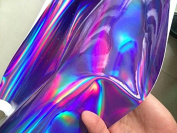 Purple Holographic Leather Fabric,shiny Pu Leather Fabric for Bags,wallets,headwear Holographic Purple Leather.wide 140cm Sold By Half Yard