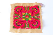 Orange Flower Textiles Hmong Fasionable Style Embroidered From Thailand