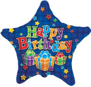 Birthday Blue Star 46cm Mylar Balloon Bulk