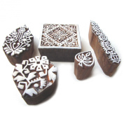 Hand Carved Floral Motifs Wooden Tags for Block Printing