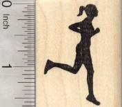 Running Woman Rubber Stamp, Silhouette Female Runner