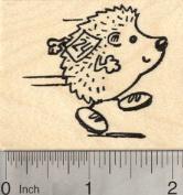 Running Hedgehog Rubber Stamp, Wearing Race Bib