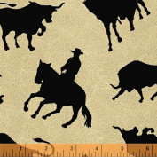 "1 Yard - ""Round 'em Up"" Cowboy & Bull Rodeo Tossed Cotton Fabric (Great for Quilting, Sewing, Craft Projects, Quilts, Throw Pillows & More) 1 Yard X 110cm Wide"