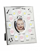Baby First Year Silver Plated 13 Opening Picture Frame