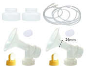 Breastpump Converters and Breastpump Kit (24mm, M Breastshield) for Medela Pump In Style. Adapt Medela Pump In Style to Fit Avent Bottles. Replace Avent Breastpump Converstion Kit, Medela Breastshield, Valve, Membrane, and Pump In Style Tubing.