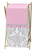 Baby/Kids Clothes Laundry Hamper for Skylar Grey Damask and Pink Polka Dot Girls Bedding