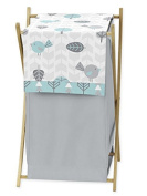 Baby/Kids Clothes Laundry Hamper for Turquoise Blue and Grey Earth and Sky Nature Birds Bedding