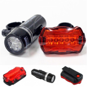 1 Set Superior 5 LED Bike Light Bicycle Lamp Safety Torch Flashlight Front 2 Modes Black and Rear 7 Modes Red