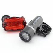 1 Set Superbly 5 LED Bike Light Safety Torch Bicycle Lamp Flashlight Front 2 Modes Black and Rear 7 Modes Red