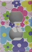 Pastel Daisy Flower Outlet Switch Plate Covper / Nursery Wall Decor in Light Pink, Purple, Yellow, Blue, Green and Orange