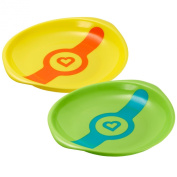 Munchkin White Hot Toddler Plates, 2 Count - Green/Yellow