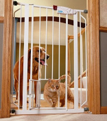 Indoor Double Door Pet Gate Deluxe Convenient Walk-through Design Easy One-touch Release Handle for Dogs & Cats