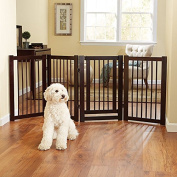 Casual Home Free Standing Pet Gate with Door, Espresso