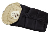 Lux4Kids Cosy winter footmuff with bear motif Integrated magnification in 12 colours approx 43cm x 86-103cm 01 Black & Cream