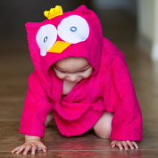 Baby-Steps, Pink Owl Hooded Bathrobe and Towel, 0-12 Months, Bath Robe Baby Shower. Gift Box with Purchase!