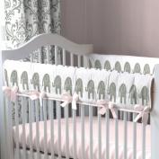Pink and Grey Elephants Crib Rail Cover