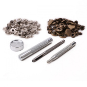 Tinksky 4pcs Professional Punch Fixing Tools Kit 30 Sets 15mm Metal Snap Fasteners Poppers Press Studs for Leather Craft