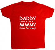 Daddy Knows A Lot But Mummy Knows Everything Baby/Children T-Shirts/Tops - 1 - 2 Years - Red