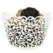 Mialand(TM) 50 Filigree Little Vine Lace Laser Cut Cupcake Wrapper Liner Baking Cup