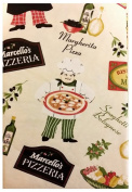 Pizzeria Pictorial Flannel Backed Vinyl Tablecloth
