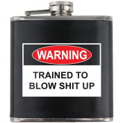 EOD Explosives Warning Label Leather Wrapped 180ml Flask