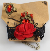 Beautiful Bead Handmade Retro Black Lace Vampire Slave Bracelet With Fabric Flower And Red Resin Gothic Style