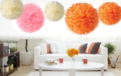 Kubert® 18PCS 20cm 25cm 36cm Mixed Sizes Peach Ivory Pink Tissue Pom poms Paper Flower Pom Poms Wedding Birthday Party Christmas Girls Room Decoration/ Tissue Paper Flower Ball Pom-poms For Party / Wedding / Home / Outdoor Decoration