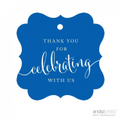 Andaz Press Fancy Frame Gift Tags, Thank You For Celebrating With Us, Royal Blue, 24-Pack, For Baby Bridal Wedding Shower, Kids 1st Sweet 16 Quinceanera Birthdays, Anniversary, Graduation, Baptism, Christening, Confirmation, Communion Party Favours, Gi ..