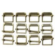Set of 12 Slide Style Metal Buckles, Antique Gold