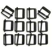Set of 12 Slide Style Metal Buckles, Polished Matte Black