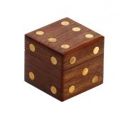 StarZebra - 6.1cm Wooden Dice Box Storage with 5 Dice Set - Square Dice Box Case with Brass Inlays