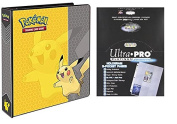Pokemon Pikachu 5.1cm 3-Ring Binder Card Album with 100 Ultra Pro Platinum Series 9-Pocket Sheets