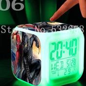 Spiderman 7 Colours Change Digital Alarm LED Clock Cartoon Night Colourful Toys for Kids