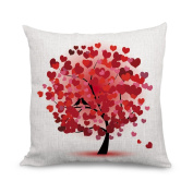 wendana Beautiful Red Heart Tree Canvas Throw Pillow Covers Decorative Home Décor for Sofa