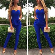 Royal blue Elegant Sexy Women's pure colour trousers Pants Jumpsuits Rompers S M L XL XXL (XL